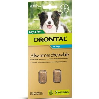 (Drontal Allwormer Chewables for Dogs 10kg 2 chews Dog Dogs Pet Pets)
