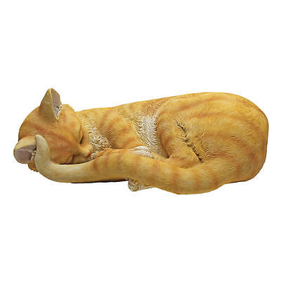 Content Feline Sleeping Tabby Cat Statue Home Napping Garden Kitty Sculpture for sale  Tampa