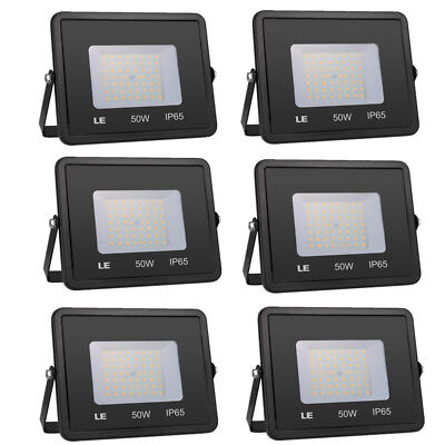 6X 50W LED Flood Lights Waterproof IP65 For Outdoor Warm White 3000K 4000lm 120V