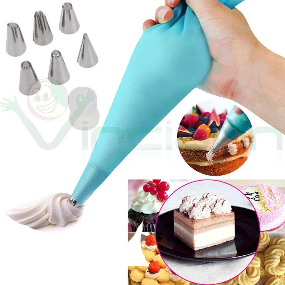 Sac a poche+6 Beccucci tasca pasticcere decorazione torta dolci cup cake design