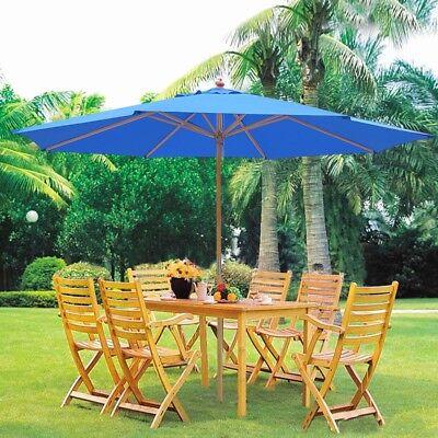 13' German Beech Wood Brolly Patio Outdoor Garden Cafe Beach Pool Yard Blue