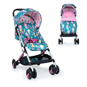 Cosatto Woosh Pink Buggy Stroller with Footmuff in Mini Mermaids Compact fold