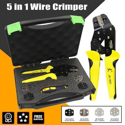 5 In 1 Wire Crimpers Ratcheting Crimping Pliers W4 Dies Cord End Terminals Tool