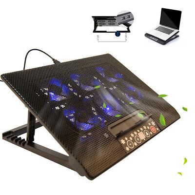 "Tilt 6 Fan Laptop Cooling Pad Portable USB Mat Stand Fit 12"" 15.4"" 15.6"" 17""inch"