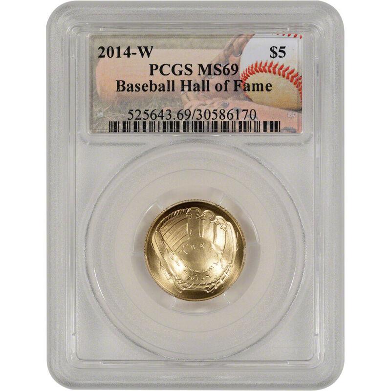 2014-W US Gold $5 Baseball Commemorative BU - PCGS MS69 - Hall of Fame Label