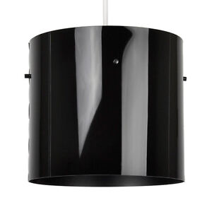 Modern-Gloss-Black-Cylinder-Ceiling-Pendant-Light-Drum-Lamp-Shade-Lampshade-NEW