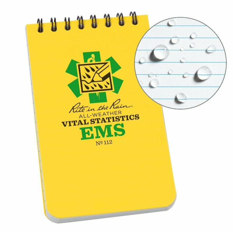 """Rite in the Rain Weatherproof EMS Notebook, 3"""" x 5"""", Yellow Cover, Vital Stat..."""