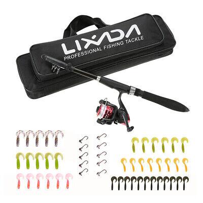 New Complete Junior Beginner Telescopic Fishing Rod And+Reel+Lure+Bag Kit Set UK