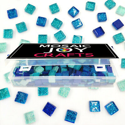 320 Pcs Mixed Color Square Glitter Glass Mosaic Tiles For Diy Craft Blue Green