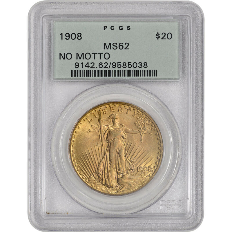 US Gold $20 Saint-Gaudens Double Eagle - PCGS MS62 - 1908 No Motto