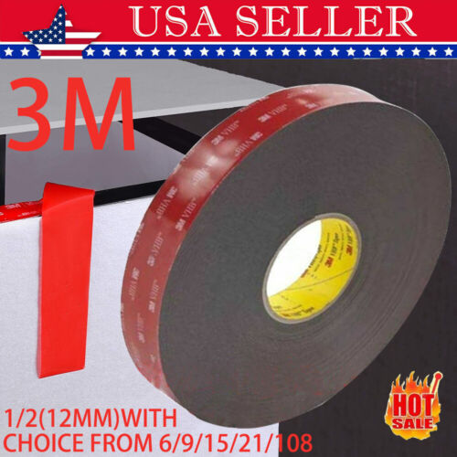 """3m 1/2 """"x X 9/15/21/108 Double Sided Foam Adhesive Tape 5952 Industrial Grade"""