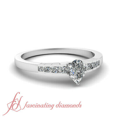 .65 Ct Pear Shaped SI2 Diamond Rescinding Grid Channel Set Engagement Ring GIA