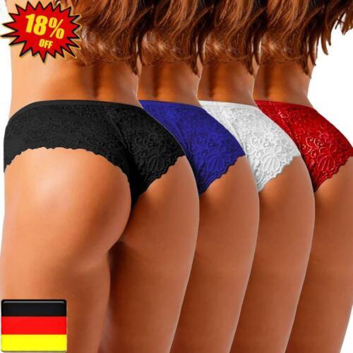 Sexy Damen Spitze G-String Unterwäsche Slip Dessous Tanga Unterhosen Panty 4er