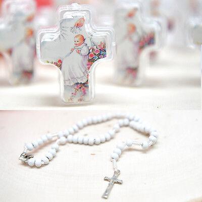 12 Baptism Favors Rosary Cross Recuerdos Bautizo Rosarios de Cruz Christening