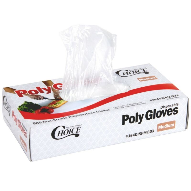 500ct Choice Disposable Poly Gloves - Medium for Food Service 1 Mil Thick