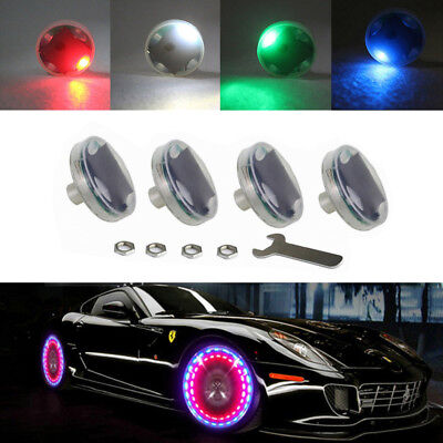 4pcs Solar Car Wheel Hub Tire Color LED Decorative Light Solar Energy Flash (Flashing Flash Wheel Lights For All Cars)