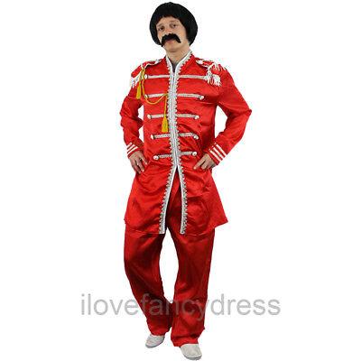 RED 1960'S POP SERGEANT PEPPER COSTUME MUSIC ICON HIPPY FANCY DRESS 60S (Sergeant Pepper Kostüm)