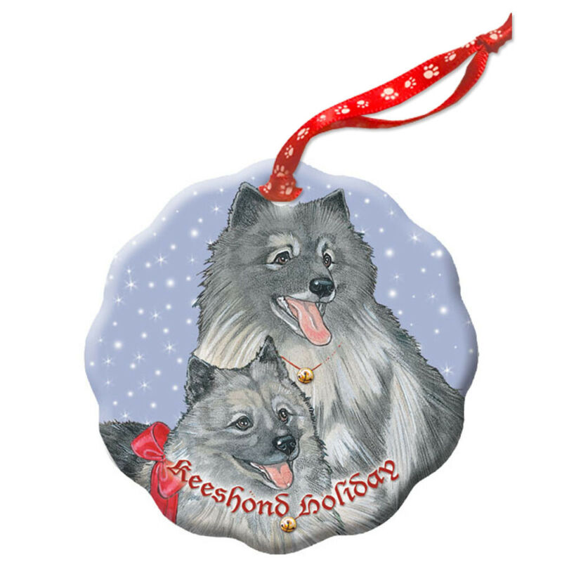 Keeshond Holiday Porcelain Christmas Tree Ornament