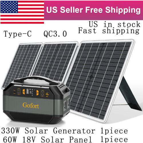 1PC 330W Solar Generator Backup Battery Pack CPAP+1PC 60W 18V Solar Panel QC3.0