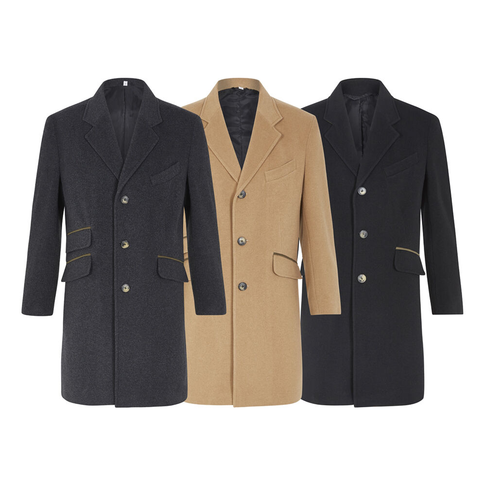 De La Creme MAN Men/'s Wool Blend Single Breasted Luxury Retro Mod Crombie Coat