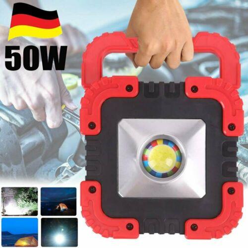 50W COB LED Arbeitsleuchte Akku Aufladbar Baustrahler Flutlicht Werkstattlampe