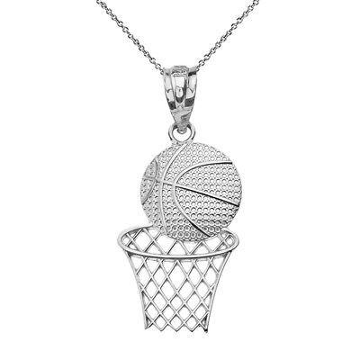 Fine .925 Sterling Silver Textured Basketball Hoop Sports Pendant Necklace