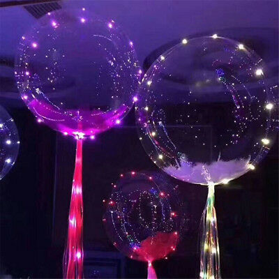 Party Glow In The Dark Party Decor Transparent Luminous Bobo Light Balloon LED (Glow In The Dark Party Decor)