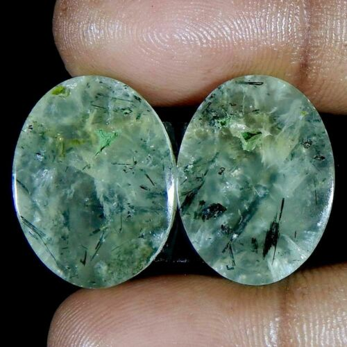 EPIC GEMS- 28 Ct 100% Natural Green Prehnite Oval- Pair Set Cabochon Gemstones