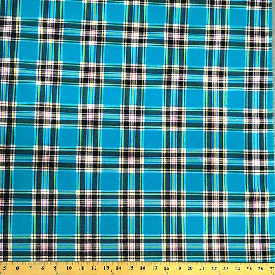 Saturnia Plaid Turquoise Print Fabric Cotton Polyester Broadcloth By The Yard 60