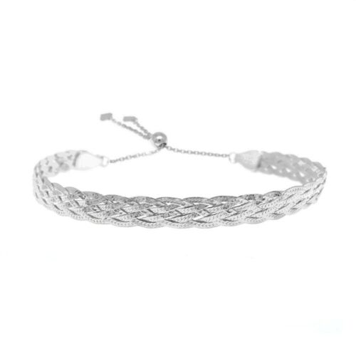Italian Made 925 Sterling Silver Braided Herringbone Adjustable Bracelet