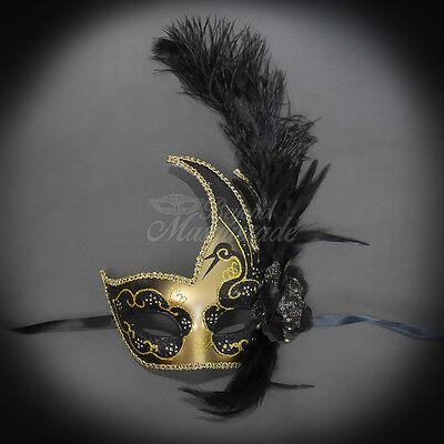 Feather Venetian Mardi Gras Masquerade Mask for Women Gold Black M6131  - Black Feather Masquerade Mask