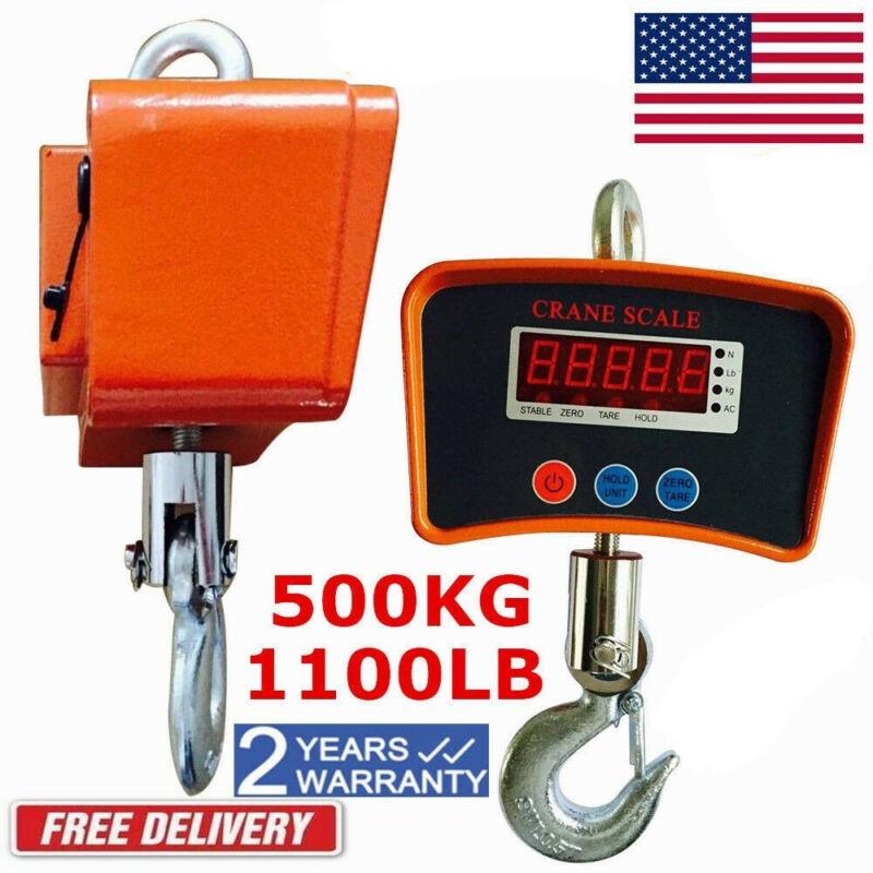 500KG Digital Hanging Scale Crane Scale Heavy Duty Industrial LCD Display 1100LB