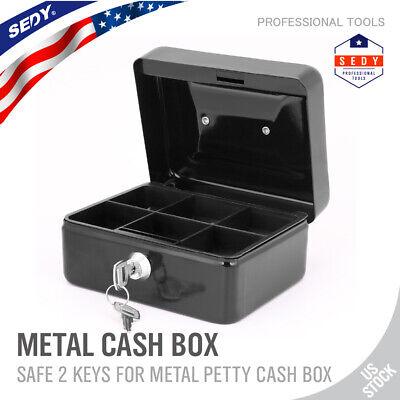 Cash Drawer Box 6 Piggy Bank Saving Box Lock Security Safe Storage Medium Steel