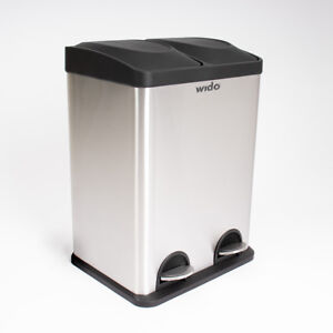 Wido 36L SLIM DOUBLE STAINLESS STEEL PEDAL STEP KITCHEN BIN RECYCLING WASTE