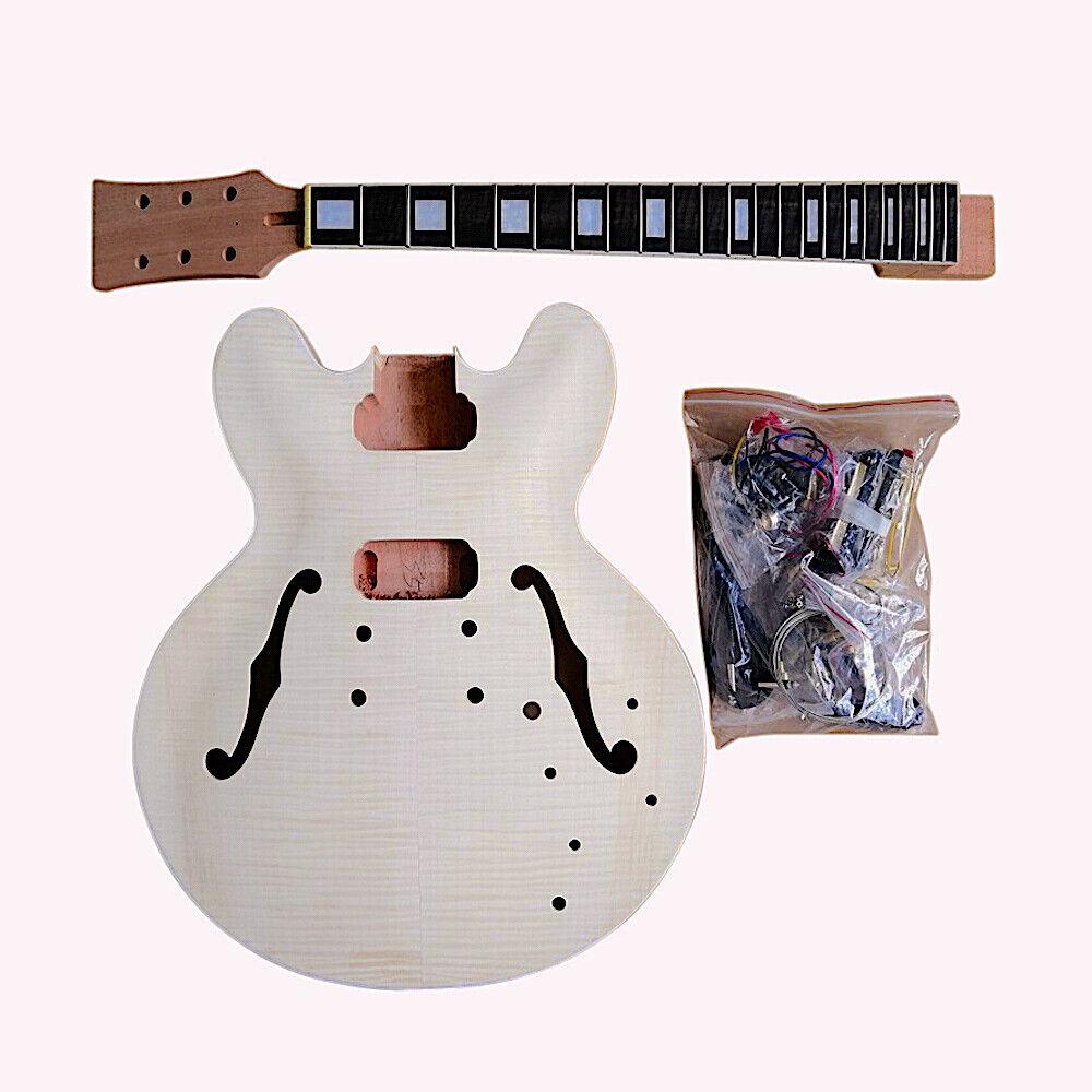 Coban Guitars DIY Kit ES 230 Flamed Maple Veneer Chrome Fittings NON Soldering