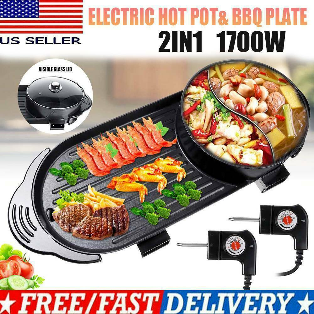 Portable Electric 2 in 1 Hot Pot Barbecue Grill Non-Stick Teppanyaki Pan Soup Grills & Griddles