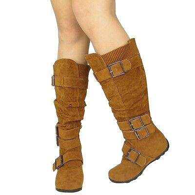 Women Boots Flat Strappy Faux Suede Ribbed Knit Collar Knee High Winter Camel (Camel Womens Flat Boots)