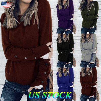 Womens Long Sleeve Shirts Blouse Sweater Ladies Sweatshirt Jumper Pullover Tops (Acrylic Sweaters)