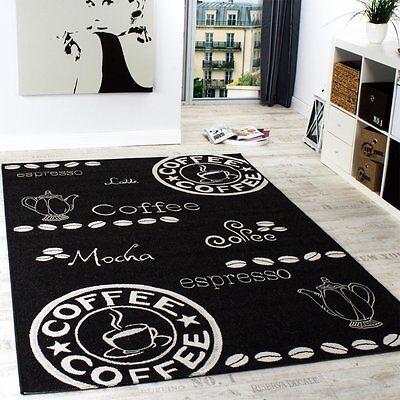 Kitchen Rug Black Modern Carpet Flat Weave Floor Easy Care Small Large Mat New