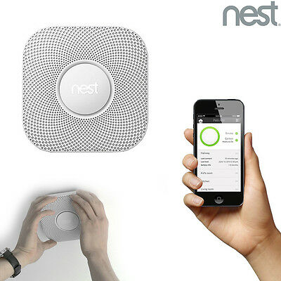 Nest Battery Powered Fire Smoke Carbon CO Detector Alarm Connect with Smartphone