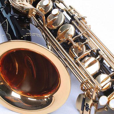 Karl Glaser Tenor Saxophon in Schwarz Gold, mit Koffer, Mundstück + Blättchen