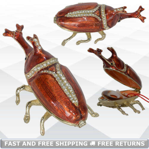 Insect Bug Jewelry Trinket Box With Hinged Lid Enamel Jeweled Ring Holder Decor
