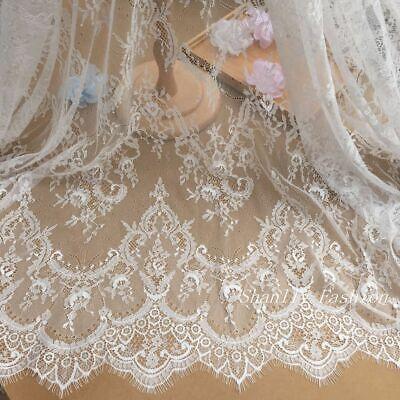 Ivory Chantilly French Eyelash Lace Fabric DIY Wedding Bridal Dress 59''/ Y - Eyelash Fabric