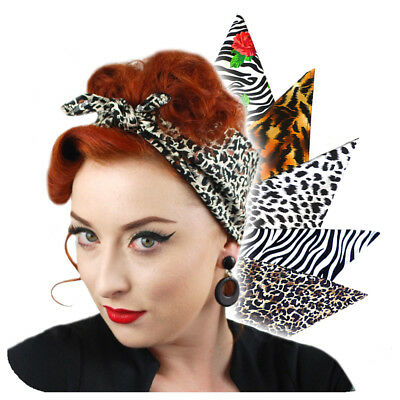 Animal Print Bandana, Retro Head Scarf, Rockabilly Bandana, Leopard, Zebra,Tiger ()