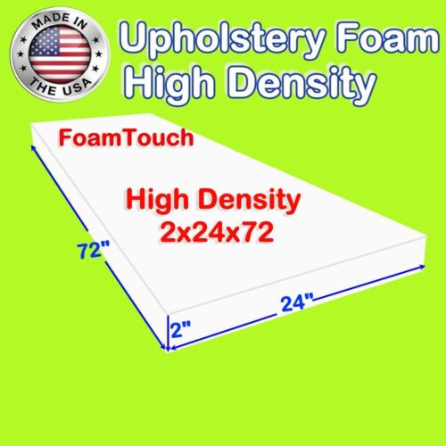 "High Density Foamtouch Upholstery Foam Cushion 2"" X 24"" X 72"" -free Shipping"