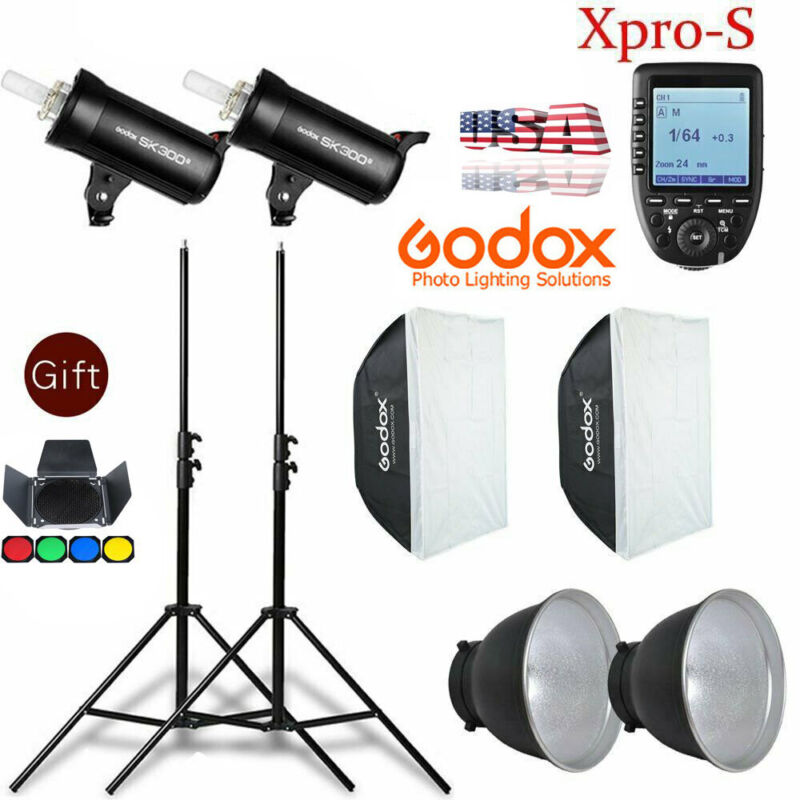 US Godox 2X SK300II 600W Flash Light & Stand Softbox Xpro-S Trigger Kit for Sony