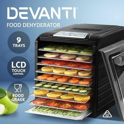 Devanti Food Dehydrators Stainless Steel Fruit Dehydrator Jerky Dryer 9 Trays