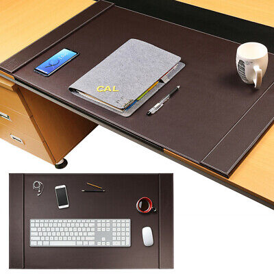 34 X 20 Premium Leather Edge Desk Pad Office Brown Computer Mouse Large Mat