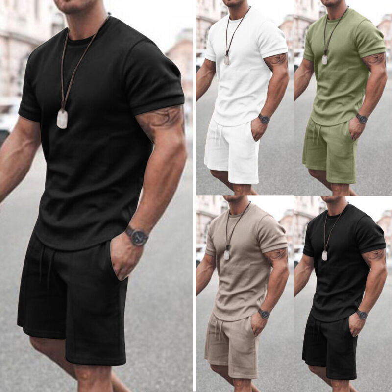 Mens Tracksuit Short Sleeve T-Shirt Shorts Set Sports Gym Fitness Casual Suit Activewear