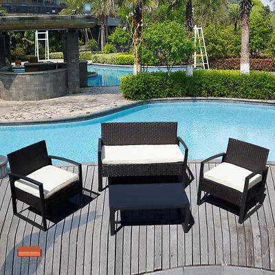 4 Piece Black Outdoor Rattan Wicker Patio Sofa & Table Set Cushioned Lawn Garden